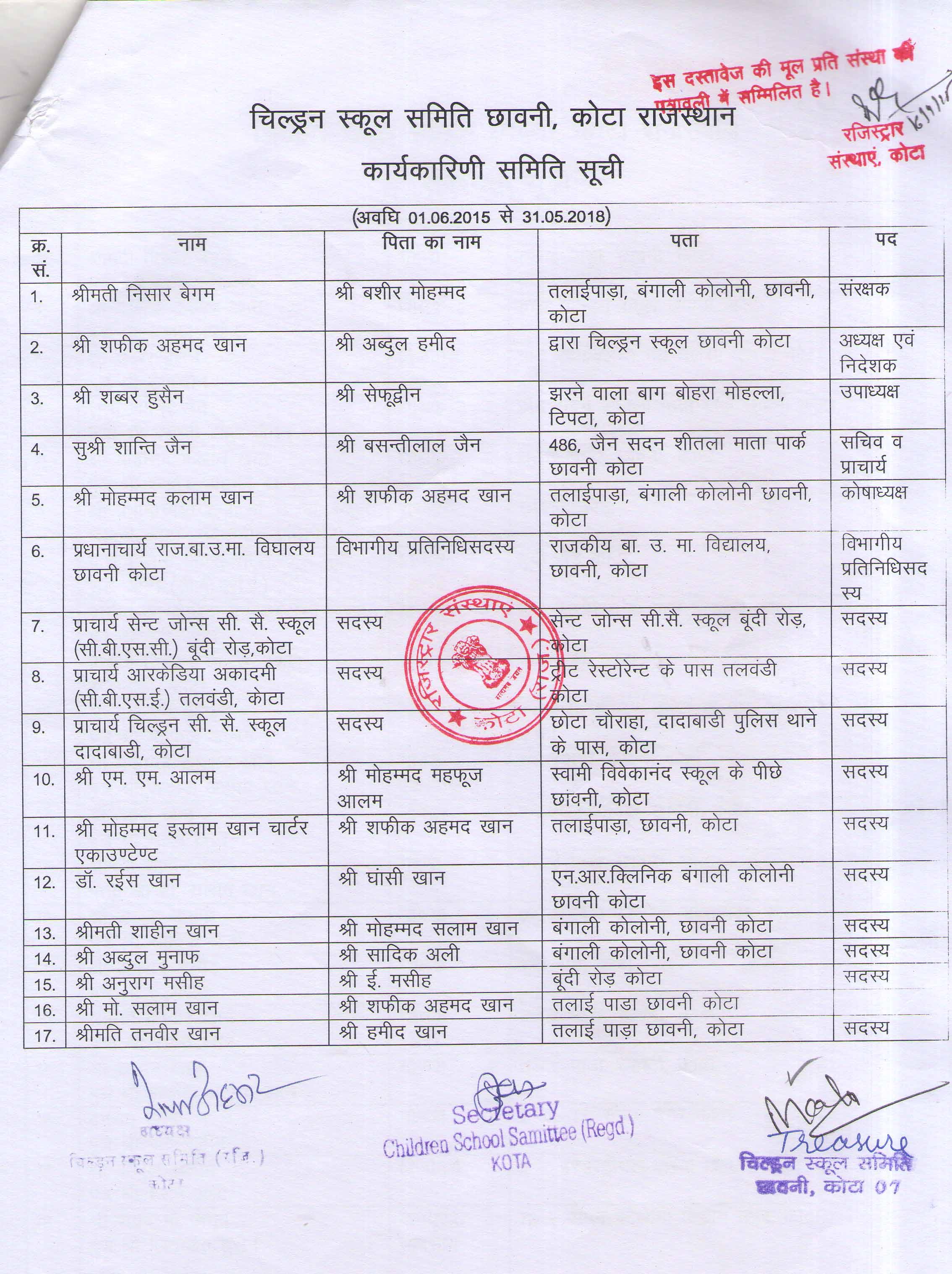 Children School Samittee (Executive Committee)
